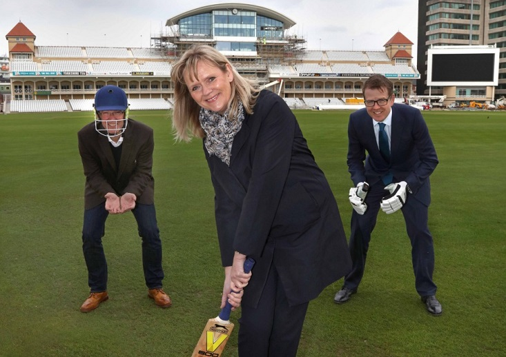 At Trent Bridge to launch ProCon Nottinghamshire are Fergus Lowe from the architect Maber, Lorraine Baggs from Invest in Nottingham and Will Cursham from the law firm Gateley Plc