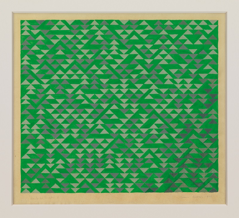 Study for Triadic II, 1969, by Anni Albers (1899–1994), gouache on blueprint paper, Kirkland Collection © The Josef and Anni Albers Foundation