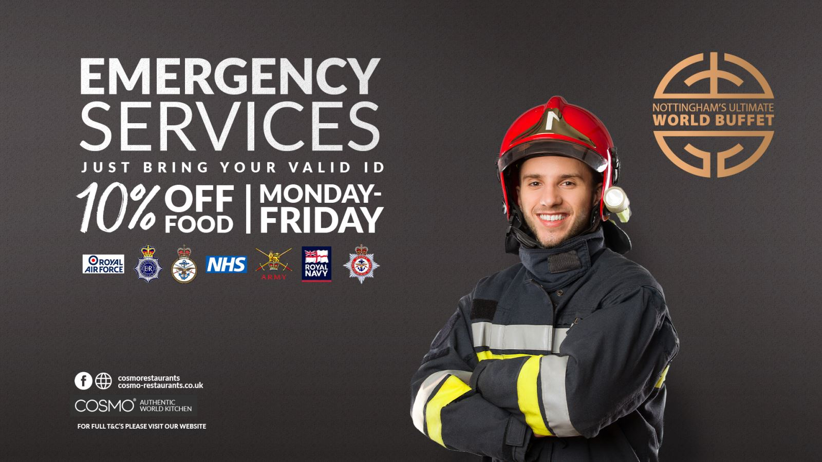 Emergency Services 10% Off Food (Mon - Fri)