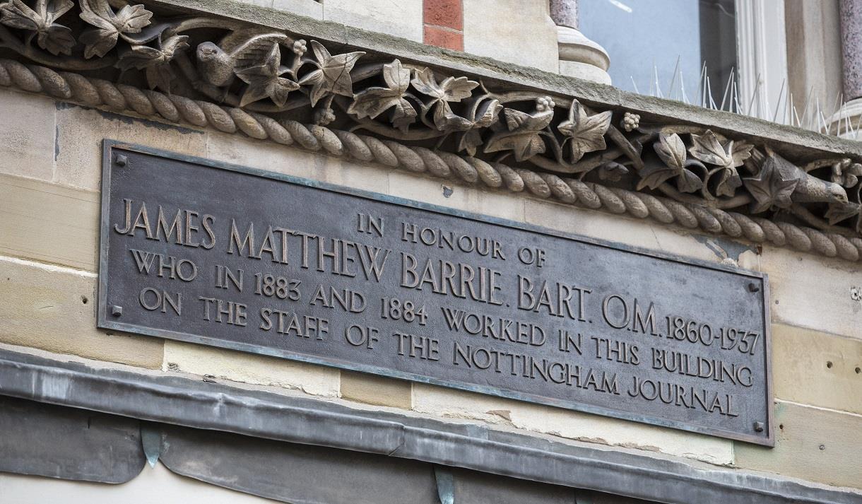 jm barrie plaque visit nottinghamshire