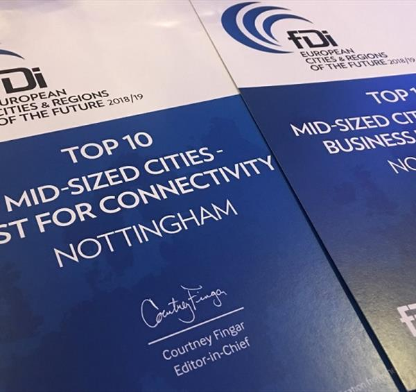 Nottingham wins international award for connectivity thanks to investment in transport networks