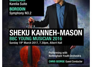Sheku Kanneh-Mason performing with the Nottingham youth orchestra